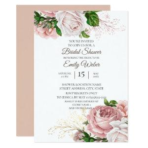 Blush Pink Floral Roses White Bridal Shower Invitation starting at 2.26
