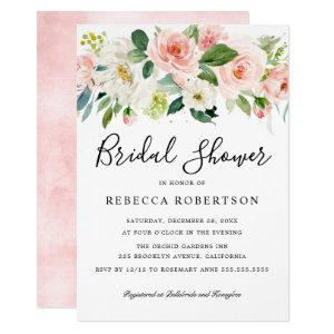 Blush Pink Florals Modern Botanical Bridal Shower Invitation starting at 2.15