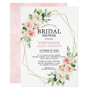 Blush Pink Florals Modern Geometric Bridal Shower Invitation starting at 2.40