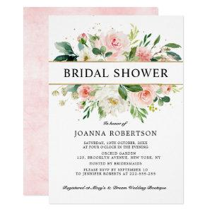 Blush Pink Florals Modern Gold Bridal Shower Invitation starting at 2.15