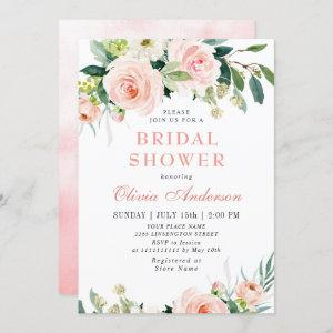 Blush Pink Flowers Watercolor Bridal Shower Invitation starting at 2.35