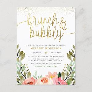 Blush Pink & Gold Brunch & Bubbly Bridal Shower Invitation Postcard starting at 1.70