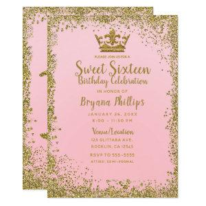 Blush Pink & Gold Glitter Crown Sweet 16 Party Invitation starting at 2.66