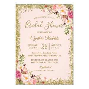 Blush Pink Gold Glitters Floral Bridal Shower Invitation starting at 2.30