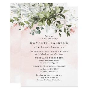 Blush Pink Gold Greenery Dusty Blue Baby Shower Invitation starting at 2.25