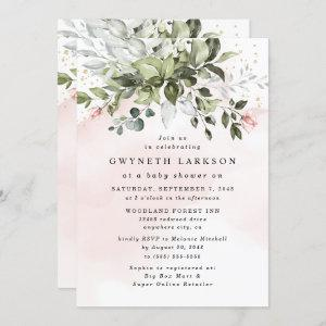 Blush Pink Gold Greenery Dusty Blue Baby Shower starting at 2.25