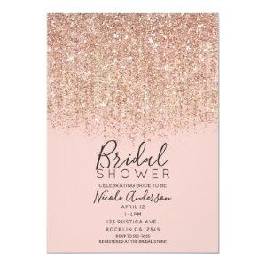 Blush Pink & Rose Gold Glitter Bridal Shower Invitation starting at 2.61