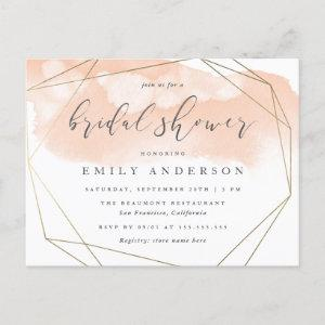 Blush Pink Watercolor Gold Geometric Bridal Shower Invitation Postcard starting at 1.70