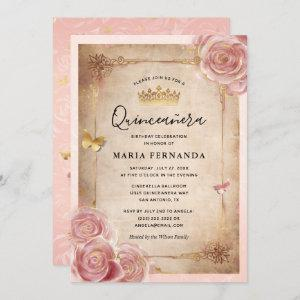 Blush Pink Watercolor Rose Gold Quinceanera Invitation starting at 2.82