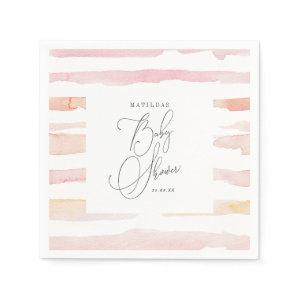 Blush watercolor stripe Baby shower Napkins starting at 39.00