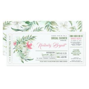 Boarding Pass | Floral Beach Bridal Shower Ticket Invitation starting at 2.55