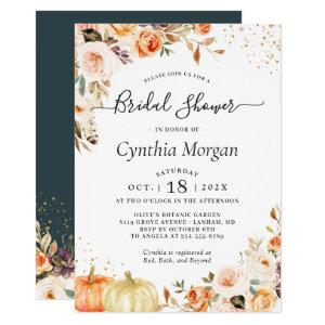 Bohemian Autumn Gold Floral Fall Bridal Shower Invitation starting at 2.30