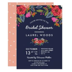 Bohemian Bouquet - Navy Blue Bridal Shower Invitation starting at 2.40