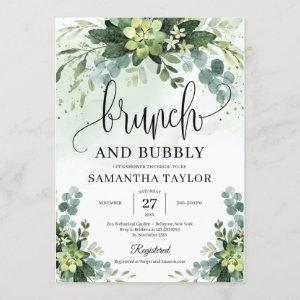 Bohemian greenery succulent brunch and bubby invitation starting at 2.25