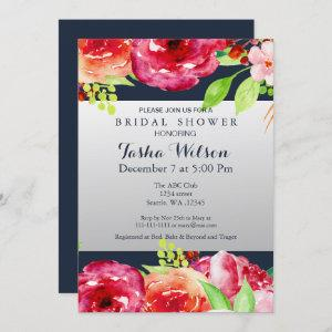 bohemian navy silver floral modern Shower Invite starting at 2.50