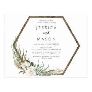 Bohemian Wreath Couples Shower Invitation Postcard starting at 1.10