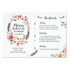 Boho Bachelorette Weekend Itinerary Invitation starting at 2.66