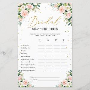Boho blush pink floral bridal Scattergories game starting at 0.71