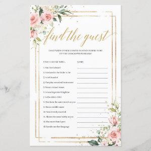 Boho blush pink floral gold find the guest game starting at 0.71