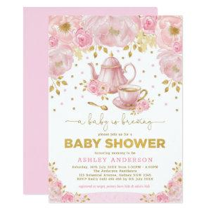 Boho Blush Pink Gold Baby Shower Tea Party Invitation starting at 2.61