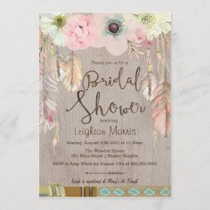 Boho Bridal Shower Invite, Tribal Feather Rustic Invitation starting at 2.82