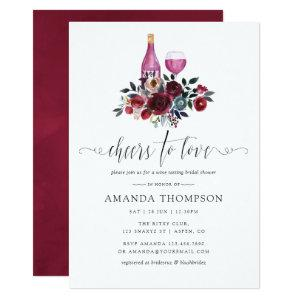 Boho Burgundy and Navy Bridal Shower Wine Tasting Invitation starting at 2.66