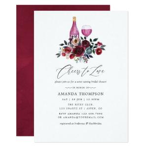 Boho Burgundy and Navy Wine Tasting Bridal Shower Invitation starting at 2.66