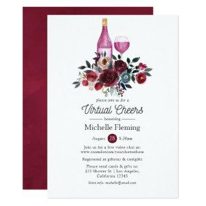 Boho Burgundy and Navy Wine Virtual Bridal Shower Invitation starting at 2.66