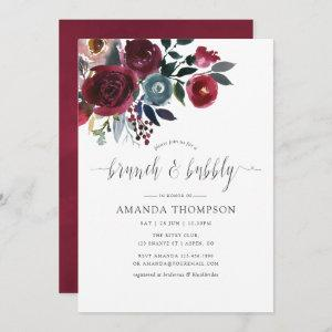 Boho Chic Burgundy & Navy floral Brunch and Bubbly Invitation starting at 2.51
