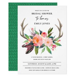 BOHO COUNTRY BLUSH ANTLER FLORAL BRIDAL SHOWER INVITATION starting at 2.35