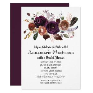 Boho Dark Purple Rust Floral Bridal Shower Invitation starting at 2.35