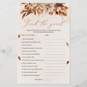 Boho Fall and Autumn Flowers Find The Guest Game starting at 0.71