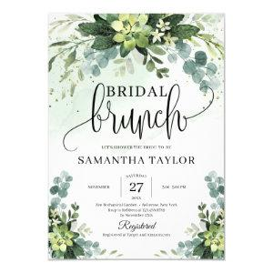 Boho greenery succulent foliage bridal brunch invitation starting at 2.25