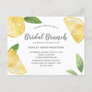 Boho Lemon Citrus And Leaves Bridal Brunch Shower Invitation Postcard starting at 1.70