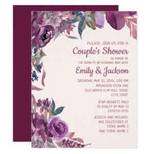 Boho Lilac Plum Purple Floral Couple's Wedding Invitation starting at 2.20