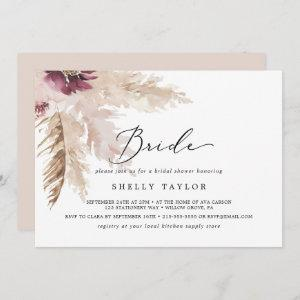Boho Pampas Grass Horizontal Bride Bridal Shower Invitation starting at 2.51