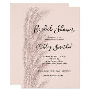Boho pampas grass rose gold blush bridal shower invitation starting at 2.40