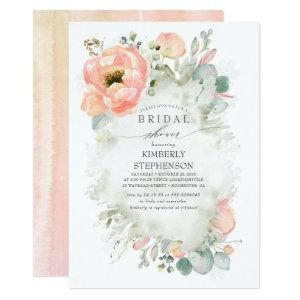 Boho Peach Flowers Elegant Garden Bridal Shower Invitation starting at 2.51