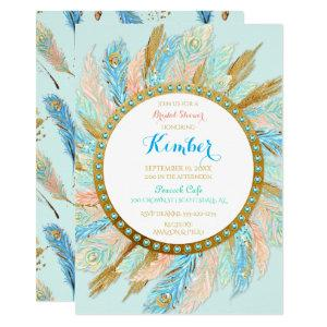 Boho Peacock Feathers Mint Peach Gold Turquoise Invitation starting at 2.55