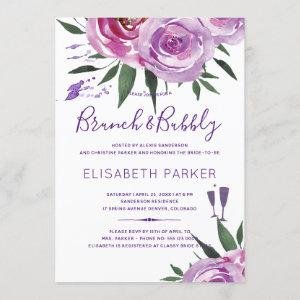 Boho purple mauve chic peonies brunch and bubble invitation starting at 2.45
