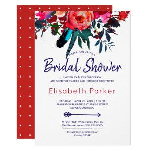 Boho red navy blue floral bouquet bridal shower invitation starting at 2.15