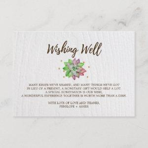 Boho Rustic Floral Succulent Wedding Wishing Well Enclosure Card starting at 1.91