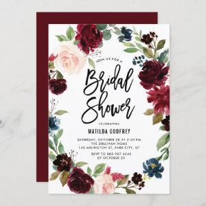 Boho Watercolor Autumn Floral Wreath Bridal Shower Invitation starting at 2.40