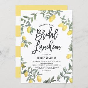 Boho Watercolor Lemon Wreath Bridal Luncheon Invitation starting at 2.40
