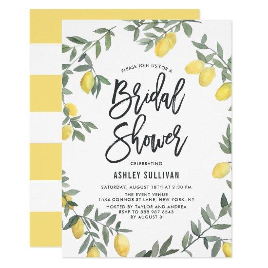 Boho Watercolor Lemon Wreath Bridal Shower Invitation