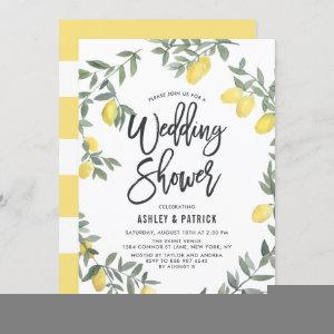Boho Watercolor Lemon Wreath Wedding Shower Invitation starting at 2.40