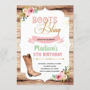 Boots and bling theme invitation starting at 2.50