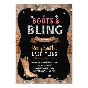 Boots and bling theme party invitation starting at 2.50