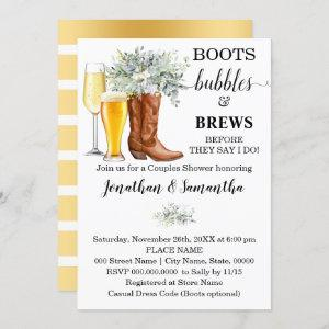 Boots Bubbles and Brews shower eucalyptus greenery Invitation starting at 2.55