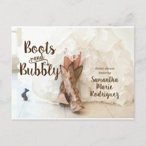 Boots & Bubbly Texas Bride in Boots Bridal Shower Invitation Postcard starting at 2.00